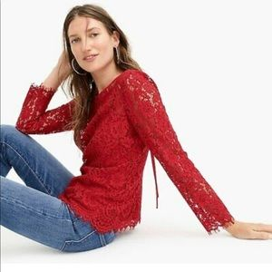J. Crew red lace long sleeve top